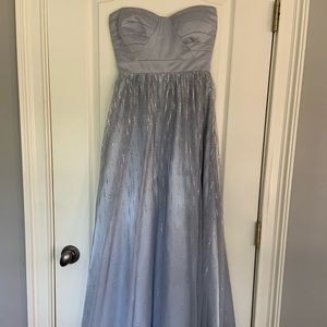 Hailey Logan by Adrianna Papell grey sparkle gown